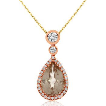14k Rose Gold Pear-shaped Morganite and Diamond Pendant