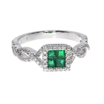 14k White Emerald Princess Fashion Ring