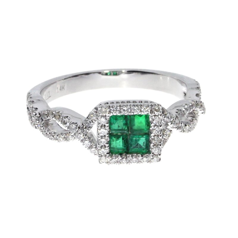 Color Merchants 14k White Emerald Princess Fashion Ring