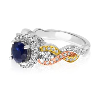 14k Tri-Color Sapphire and Diamond Ring