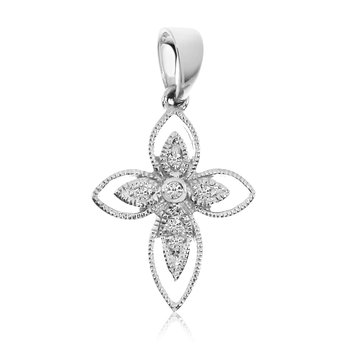 14K White Gold Small Rope Diamond Cross