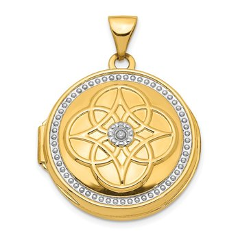 14K w/ White Rhodium 22mm Diamond Locket Pendant