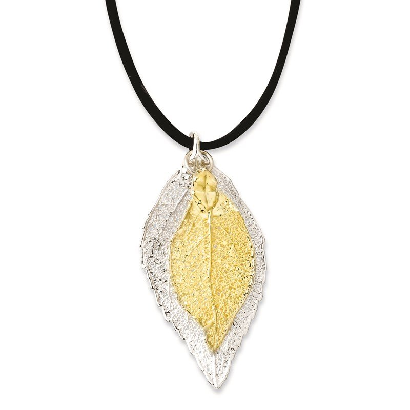 Quality Gold Silver/24k Gold Dipped Double Evergreen Leaf Necklace