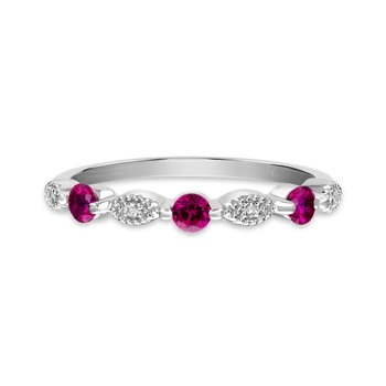 Sterling silver, synthetic ruby & diamond fashion band
