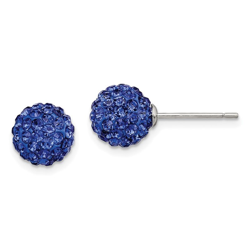 Quality Gold Sterling Silver Rhodium-plated 8mm Dark Blue Czech Crystal Post Earrings