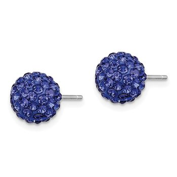 Sterling Silver Rhodium-plated 8mm Dark Blue Czech Crystal Post Earrings