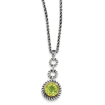 Sterling Silver w/Gold-tone Flash Gold-plated Peridot Necklace