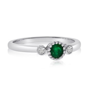 14k White Gold Emerald Bezel Set Ring