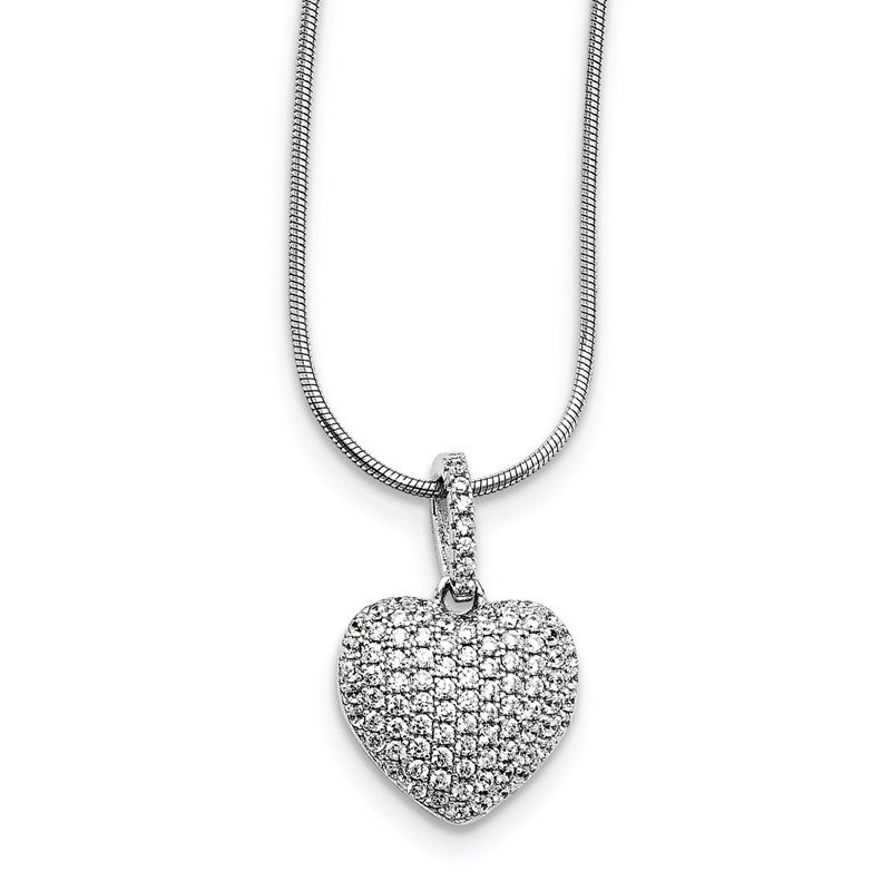 Fine Jewelry by JBD Sterling Silver & CZ Brilliant Embers Heart Necklace
