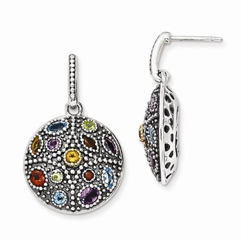 Sterling Silver w/14k Antiqued Multi Gemstone Post Dangle Earrings