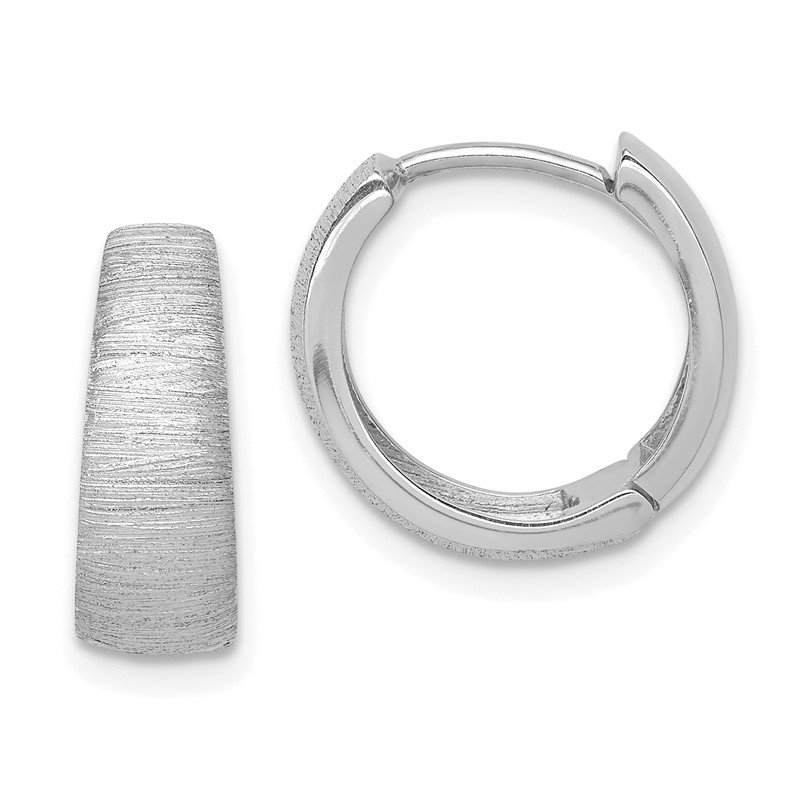 Quality Gold 14K White Gold Textured Hoop Earrings