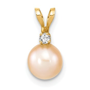 14k 6-7mm Round Pink Freshwater Cultured Pearl Diamond Pendant