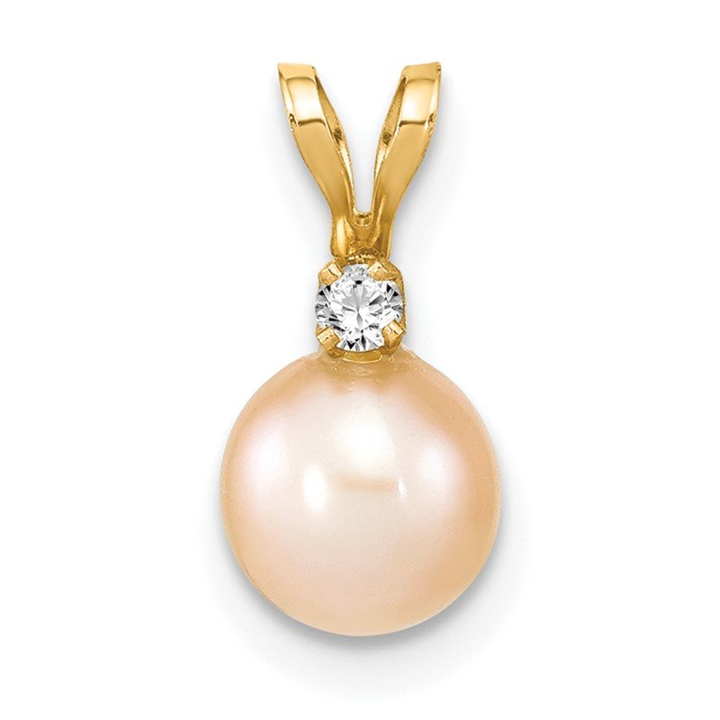 Quality Gold 14k 6-7mm Round Pink Freshwater Cultured Pearl Diamond Pendant