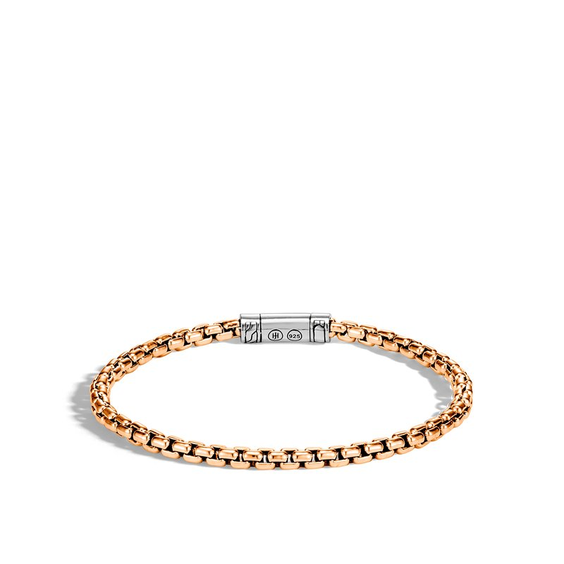 JOHN HARDY Classic Chain 4MM Box Chain Bracelet in Bronze and Silver