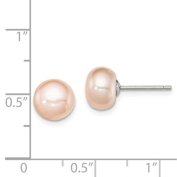 Sterling Silver Rh-plated 8-9mm Pink FW Cultured Button Pearl Stud Earrings