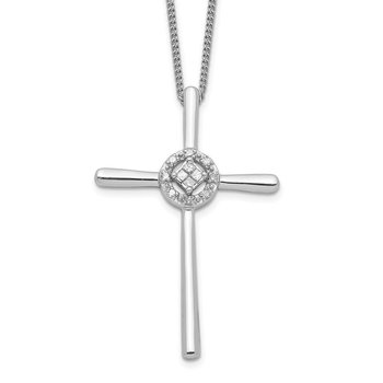 Sterling Silver Diamond Rhodium-plated Eternal Life Cross Necklace