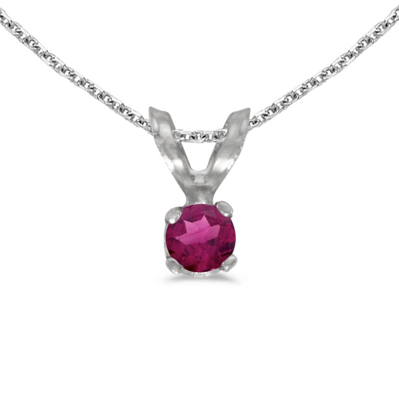 Color Merchants 14k White Gold Round Rhodolite Garnet Pendant