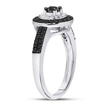 10kt White Gold Womens Round Black Color Enhanced Diamond Solitaire Ring 3/4 Cttw