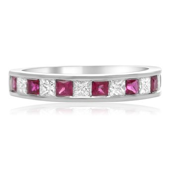 Princess Cut Ruby & Diamond Band