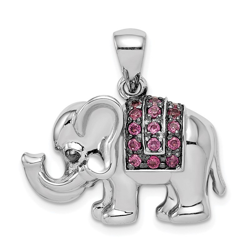 Quality Gold Sterling Silver Rhodium Polished Rhodolite Garnet Elephant Pendant