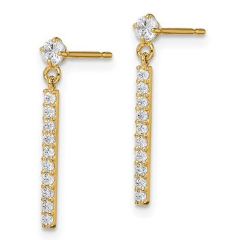 14k Madi K CZ Bar Dangle Post Earrings
