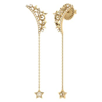 Starry Cascade Drop Earrings in 14 KT Yellow Gold Vermeil on Sterling Silver