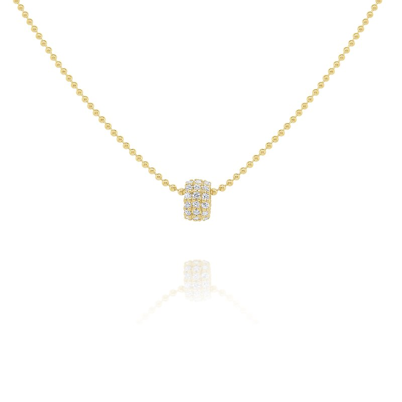 "KC Designs 14k Gold and Diamond Rondel on 18"" Bead Chain"
