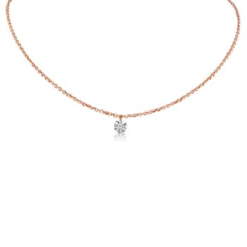 "14K Rose Gold 0.15 Single Diamond Necklace with 18"" Cable Chain"