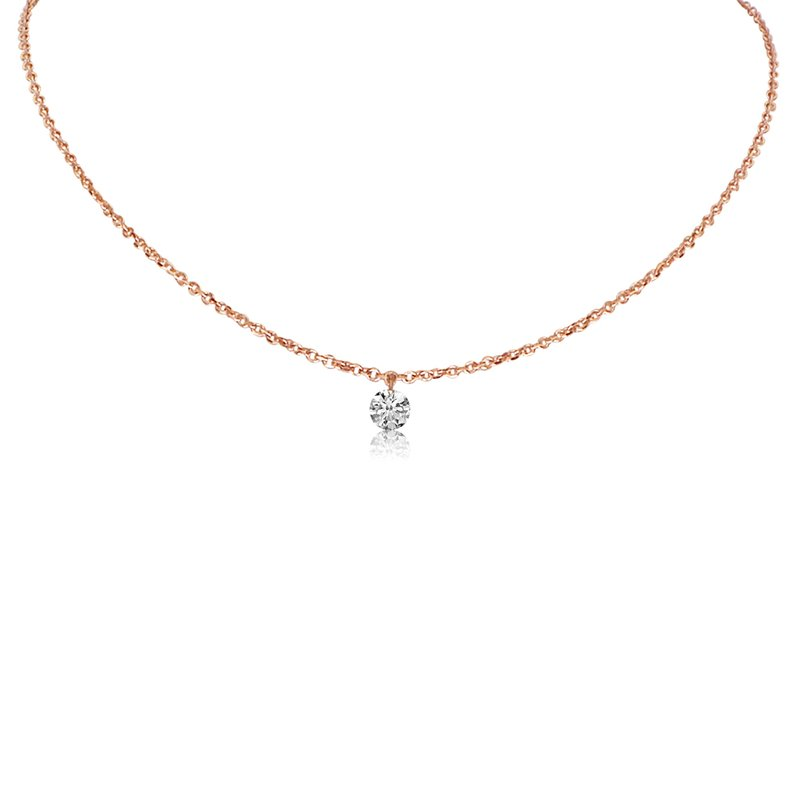 "Color Merchants 14K Rose Gold 0.15 Single Diamond Necklace with 18"" Cable Chain"