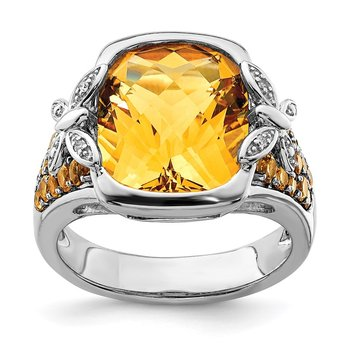 Sterling Silver Rhodium Diam. and Citrine Ring