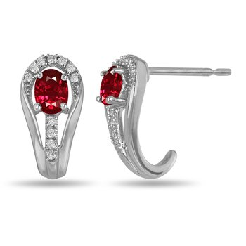 10K WG and diamond and Ruby halo style birthstone earring