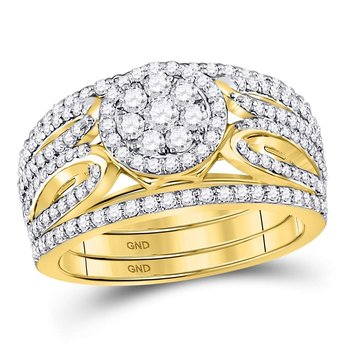 14kt Yellow Gold Womens Round Diamond Cluster 3-Piece Bridal Wedding Engagement Ring Band Set 1.00 Cttw