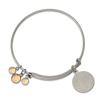 Silver-tone Brass Golden Crystal Bangle Bracelet