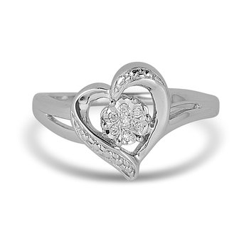 925 SS & Diamond  Heart Ring in Illusion Center Setting