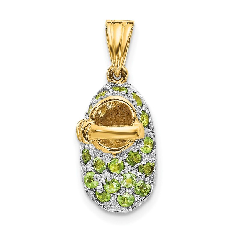 Quality Gold 14k & Rhodium Prong-Set August/Peridot Baby Shoe Charm