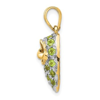 14k & Rhodium Prong-Set August/Peridot Baby Shoe Charm