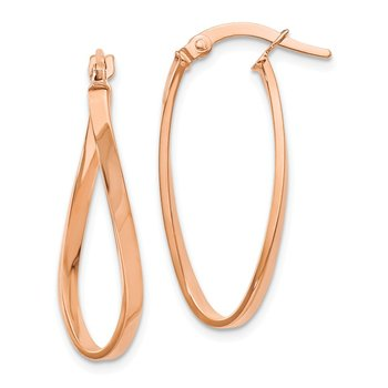 Leslie's 14K and Rose Gold-plated Polished Oval Hoop Earrings