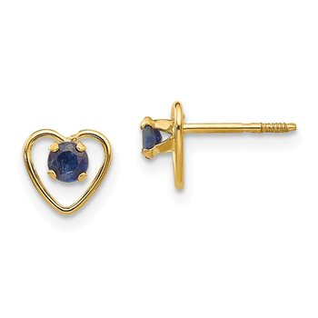 14k Madi K 3mm Sapphire Birthstone Heart Earrings