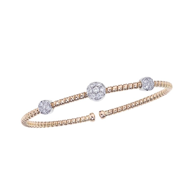DA Gold Two-Tone Twisted Bangle with Diamond Stations