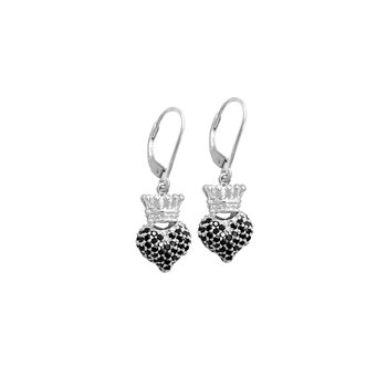 Small 3D Crowned Heart Lever Back Earrings - Silver And Black Cz Pave.