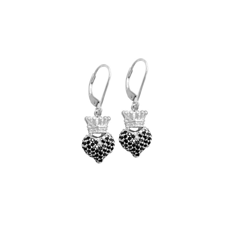 King Baby Small 3D Crowned Heart Lever Back Earrings - Silver And Black Cz Pave.
