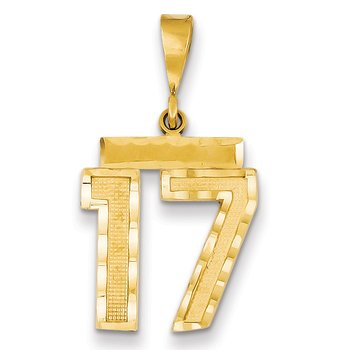 14k Medium Diamond-cut Number 17 Charm