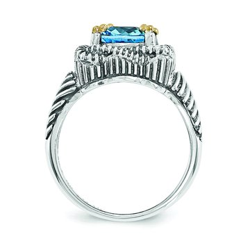 Sterling Silver w/14k Lt Swiss Blue Topaz Ring