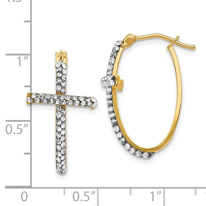 Leslie's Leslie's 14K Crystals from Swarovski Polished Cross Hoop Earrings