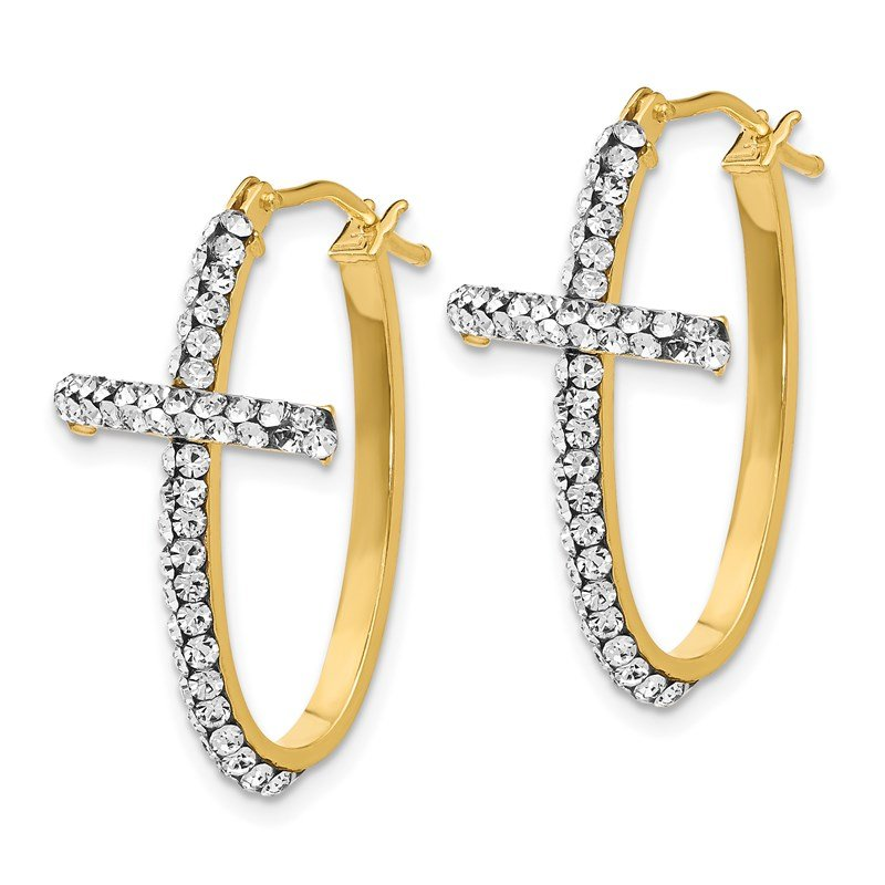 Leslie's Italian Gold Leslie's 14K Crystals from Swarovski Polished Cross Hoop Earrings