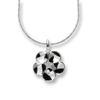 Sterling Silver Harlequin Necklace-Black-White. White Sapphires.