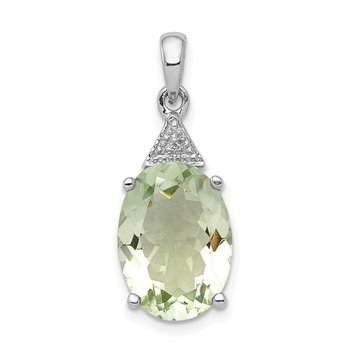 Sterling Silver Rhodium Green Quartz & Diamond Pendant