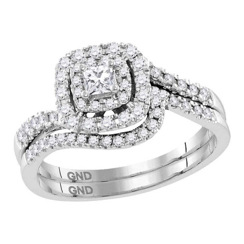 Gold-N-Diamonds, Inc. (Atlanta) 14kt White Gold Womens Princess Diamond Bridal Wedding Engagement Ring Band Set 1/2 Cttw
