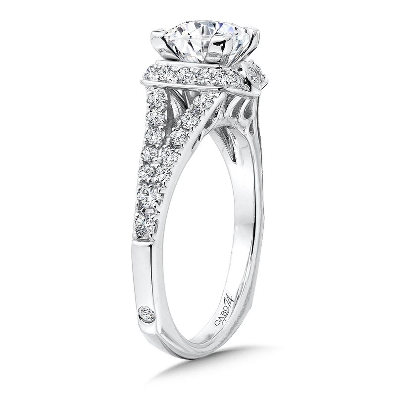 Caro74 Princess-Cut Halo Engagement Ring in 14K White Gold with Platinum Head (1ct. tw.)
