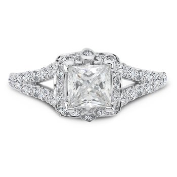Princess-Cut Halo Engagement Ring in 14K White Gold with Platinum Head (1ct. tw.)